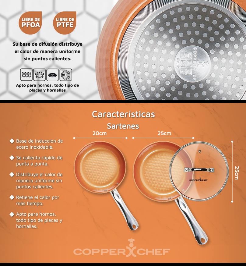 Sartenes Copper Chef Diamond Cookware 3Pc Set